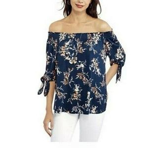 NWT French Laundry Lush Navy Combo Top